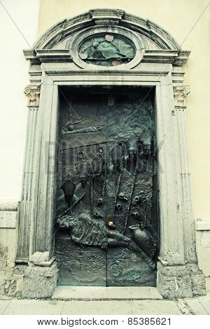 Door Of The St. Nicholas Church In Ljubljana, Slovenia