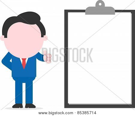 Businessman Thumbs Up Beside Big Clipboard