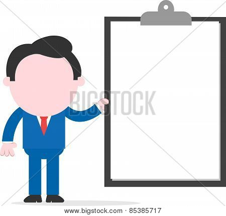 Businessman Holding Big Clipboard