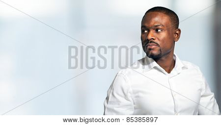 Portrait of an handsome man. Very large copyspace