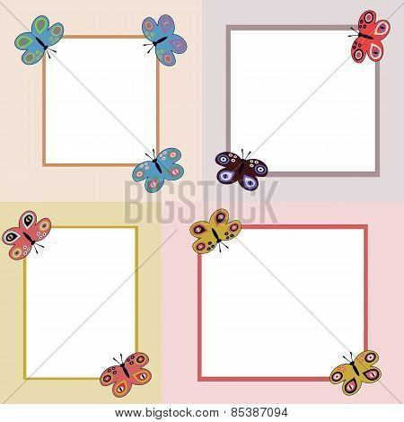 Four simple clear frames with butterflies