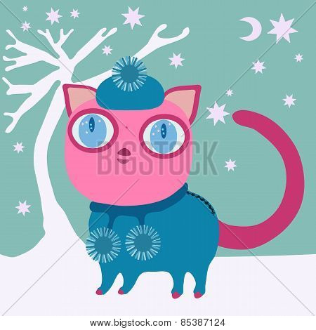 Cute pink cat with big eye in blue winter cap and dress with balls