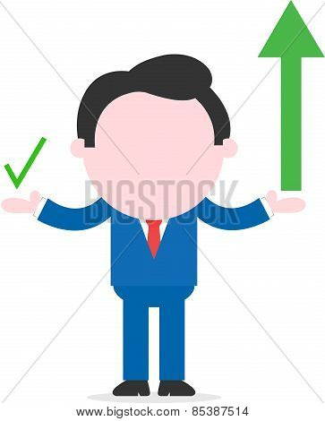 Businessman Showing Green Arrow And Check Mark