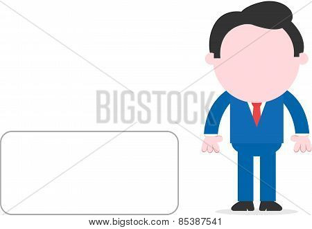 Businessman Beside Blank Banner
