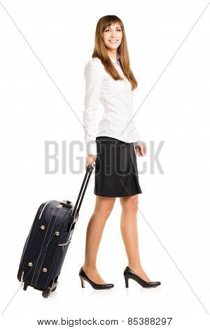 Business Woman With Travel Bag Isolated On White Background