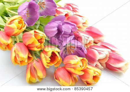 Bouquet Colorful flowers arrangement tulips for congratulations on the celebration on a white backgr