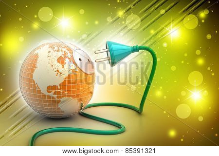 earth globe with power cable
