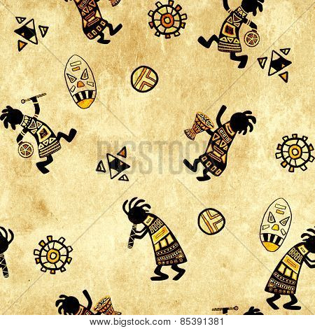 Seamless background with paper texture and african national patterns