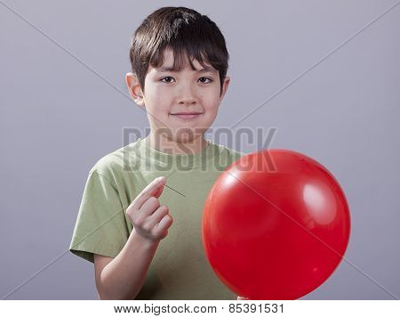 Boy With Pin And Ballloon.