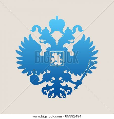 Russian blue coat of arms double-headed eagle emblem. Symbol of empire Russia
