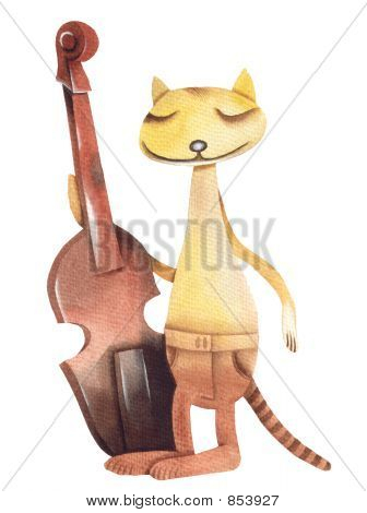 The cat plays on a contrabass.Illustration by Eugene Ivanov