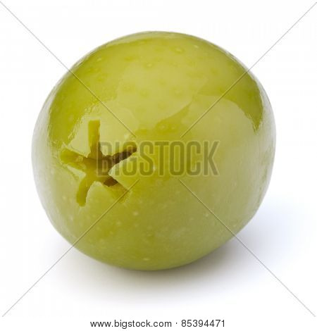 Green olive fruit isolated on white background cutout