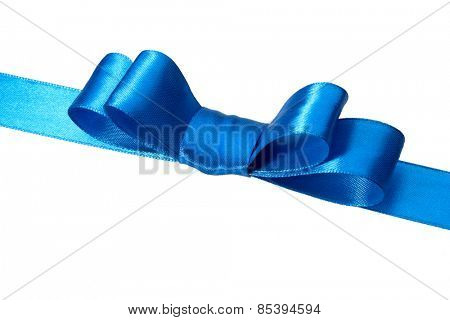 Festive blue gift ribbon and bow isolated on white background cutout