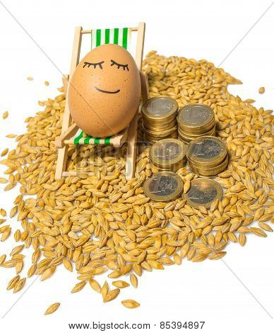 funny egg and euro coins with seeds