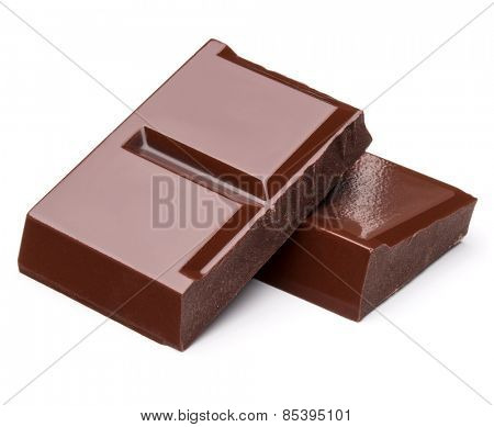 piece of dark chocolate bar isolated on white background cutout