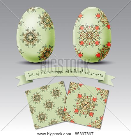 Set Of Realistic Easter Eggs With Floral Ornaments
