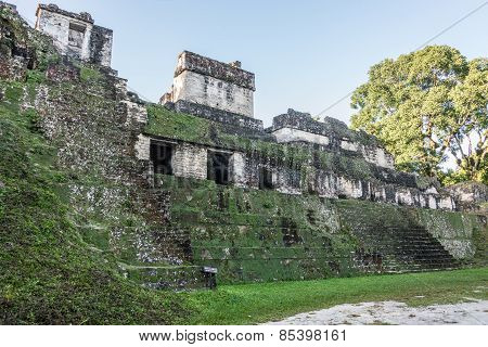 Mayan Ball Court At Tikal, National Park. Traveling Guatemala, Central America.