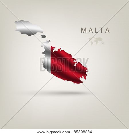 Flag of MALTA as a country with a shadow
