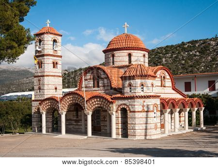 Scenic Church Near The Road, Peloponnese, Greece