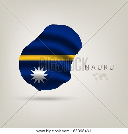 Flag of NAURU as a country with a shadow