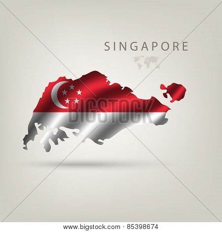 Flag of SINGAPORE as a country with a shadow