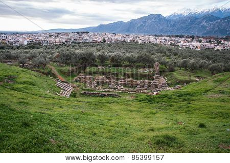 Ancient Greek Ruins At The Archaeological Place At Sparta,  Greece