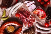 picture of deli  - Assortment of deli meats on parchment background - JPG