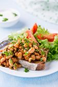 foto of stew  - Stewed white beans in tomato sauce on toasted bread with green salad selective focus - JPG