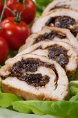 picture of butter-lettuce  - Delicious turkey breast roulade cut in slices stuffed with prunes and almond - JPG