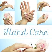 stock photo of french manicure  - Hands with french manicure in collage - JPG