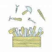 pic of leather tool  - Leather working tools in toolbox vector illustration - JPG