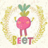 picture of beet  - Sweet beet in funny cartoon style - JPG