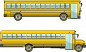 stock photo of truck-stop  - Two variants of a classic yellow school bus in flat style - JPG
