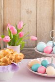 stock photo of braids  - Easter breakfast table with Easter eggs - JPG