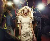 Постер, плакат: Stunning blonde beauty and press photographers