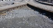 image of reconstruction  - Reconstruction old tram track on town centre - JPG