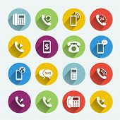 stock photo of telecommunications equipment  - Set of phone handset flat icons isolated in colored circles - JPG