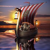 picture of viking ship  - Viking boat in the sea - JPG