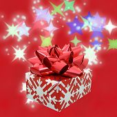 Christmas Gift On Red poster