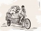 image of rickshaw  - Sketch of cycle rickshaw delivery - JPG