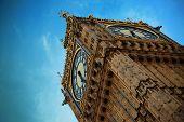 stock photo of big-ben  - Big Ben closeup in London with blue sky - JPG