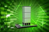 stock photo of smart grid  - smart phone with real estate concept  computer networking with globe - JPG