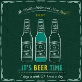 stock photo of drawing beer  - Green blackboard with three bottles of beer and text vector - JPG