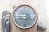 stock photo of manometer  - Steampunk background - JPG