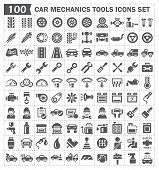 foto of auto garage  - 100 icons of car mechanics tools and accessories - JPG
