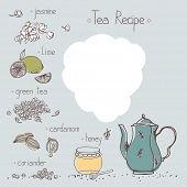 stock photo of recipe card  - jasmine tea recipe template - JPG