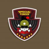 pic of special forces  - Military Emblem with a skull and the weapon - JPG