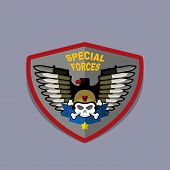 foto of special forces  - Military Emblem with a skull and the weapon - JPG
