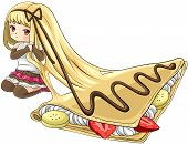 foto of nymph  - Cute cartoon crepe nymph the goddess of dessert create by vector - JPG