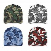 stock photo of camoflage  - Four realistic military caps on white background - JPG